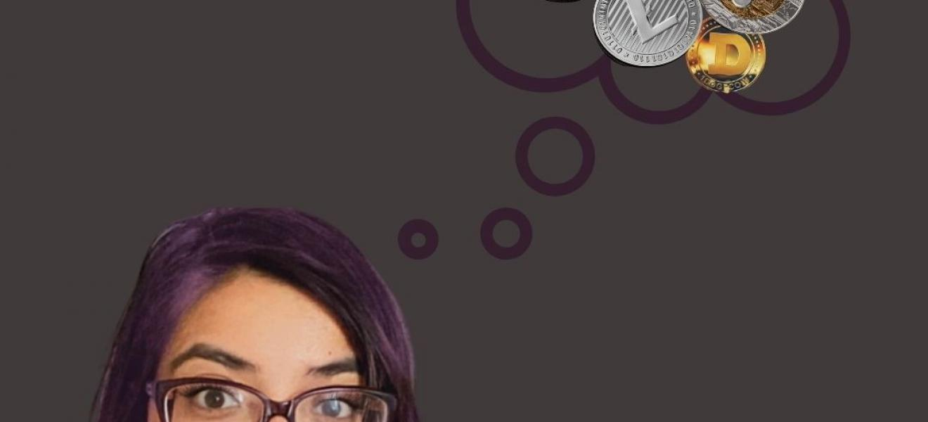 Feyaza Khan, grey background, grey hoodie, thought bubble with crypto coin logos