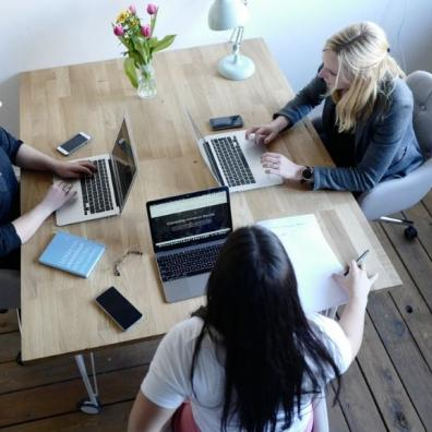 Startup founders working at a desk
