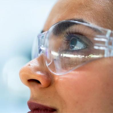 A close-up of a female scientist
