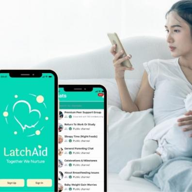 A mother using LatchAid