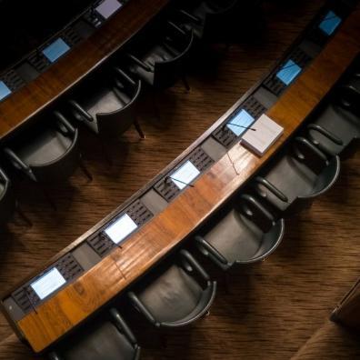 An empty parliamentary chamber