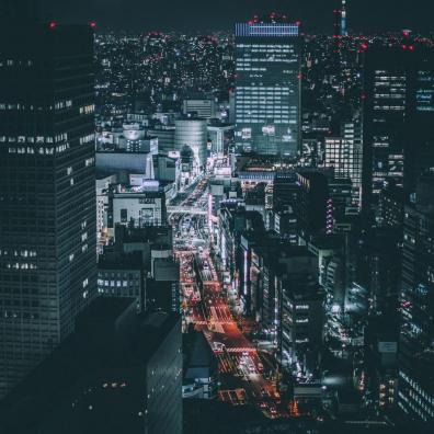 A cityscape at night